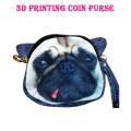 Fantástico bonito lifelike 3d cão rosto saco zíper caso moeda dinheiro carteira carteira