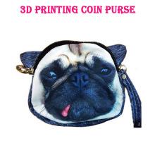 Fantástico, lindo, realista, 3d, perro, cara, bolso, cremallera, caja, moneda, monedero, billetera