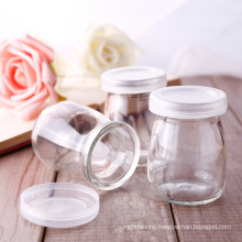 Yogurt Glass Bottle Cup Packaging. Glass Pudding Bottle