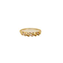 Полированного 18-каратного кольцо Инкрустированные циркон