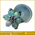 White Opal Gems Flower Bio Flex Internally Threaded Labret Cartilage Earring