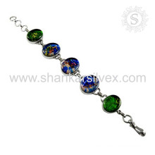 Attractive dico glass silver bracelet handmade jewelry wholesaler 925 sterling silver gemstone bracelets jewellery exporters
