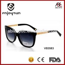 Gafas de sol de acetato de dama con templo de metal gafas de sol de moda