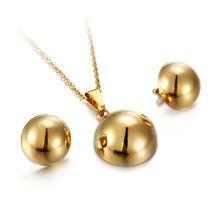Nuevo diseño de acero inoxidable collar de aretes de bola de oro conjunto de joyas