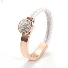 Mulheres IP Rose Gold Wide Aço Inoxidável Crystal Weave Pulseira De Couro Pulseira