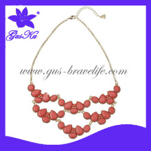 2014 Gusku Gus-Fn-022 Hot and Fashion Metal Necklace as Coral Opaque Stone Layered Necklace