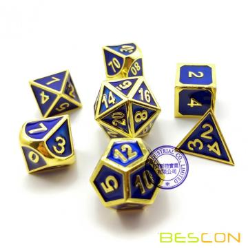 Bescon Deluxe Golden and Blue Enamel Solid Metal Polyhedral Role Playing RPG Game Dice Set (7 Die in Pack)
