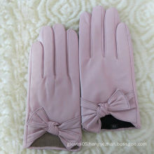High grade light pink womens fashion bow leather gloves