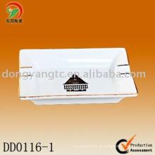 Bandeja de ceniza de cerámica blanca