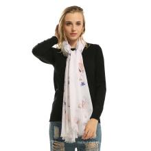 Forme a mujeres el animal suave del algodón viscoso señora chal de invierno mujeres bufanda de mariposa impresa
