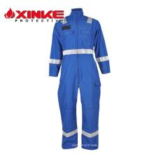roupa azul do retardador de fogo do aramid para o coverall do campo petrolífero