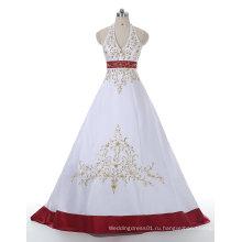 Красное/Белое Золото Вышивка Атласная Свадебное Платье