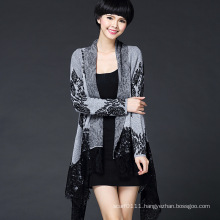 Women Fashion Viscose Knitted Lace Cardigan (YKY2063)