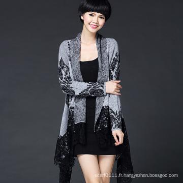 Femmes Fashion Viscose tricoté dentelle Cardigan (YKY2063)