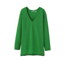 Geschenk-lange Hülse tiefe V-Ansatz Stickerei-Frauen-einfaches T-Shirt