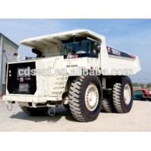hors-route minière camions à benne basculante 100ton avec seau de roche