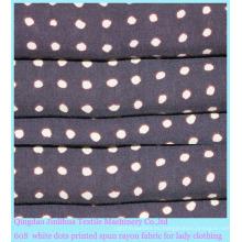 Белая вискозная ткань с принтом 60-х годов для женской одежды