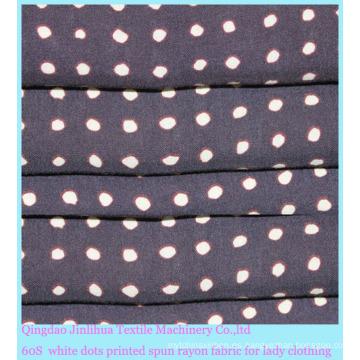 Tela de rayón con puntos blancos impresos de los años 60 para mujer
