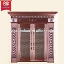 Porte de bronze extérieure personnalisée, double porte battante