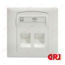 Two Port Abs 86*86 Coaxial Network Faceplate / Wall Plate For Telephone Cable