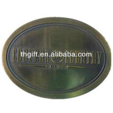 Custom metal belt buckle with antique plating