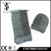 Retail unisex custom blank wholesale knit hat and scarf sets