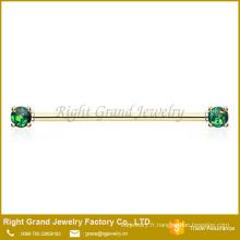 Titane en acier chirurgical plaqué broche opale de feu synthétique Set boucle d'oreille Barbell