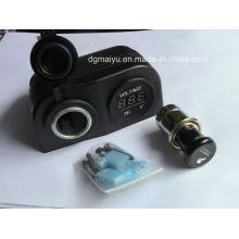 Waterproof Double Cigarette Socket with Voltmeter Socket