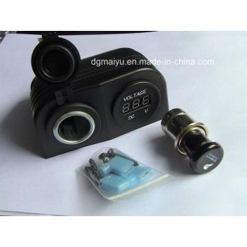 Waterproof Double Cigarette Socket with Voltmeter Socket