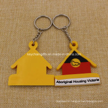Promotion Custion 2D House Shaped PVC Keychain Rubber Keychain