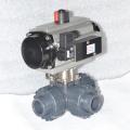 3 исхода клапан upvc пластичный шаровой с пневмоприводом