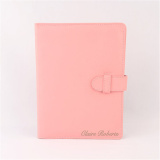Personalized 2 Sides Pockets Buckled Pink Leather Portfolio with A5 Size Notepad