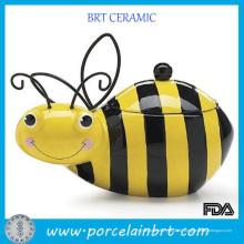 Großhandelskreatives Honig-Hummel-Bienen-keramisches Plätzchen-Speicher-Glas