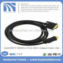 6 Pies HDMI macho a VGA 15 pines HD15 macho cable 1080p oro 24 K