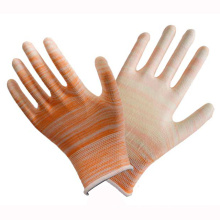 Polyester Liner Knit Handgelenk Orange PU Coated Handschuh