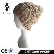 New Arrival ladies acrylic jacquard hat with pom pom
