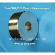 Cilindro de imán de neodimio con un centro de agujero UH serie imanes