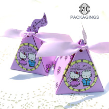 Liten Pink Triangle Paper Candy Packaging Box