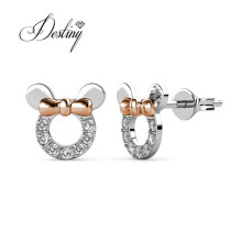 Cute Micky Mouse Mixed Gold Plated Tiny Stud Earrings