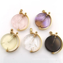 Golden Natural Crystal Essential Oil Perfume Aroma Bottle Pendant Stainless Steel Round Luck Globe Pendant Jewelry Female