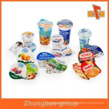 Guangzhou Zhongbao al por mayor de grado alimenticio cortado piezas de aluminio tapa de yogur de aluminio