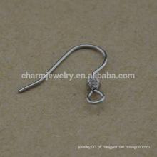 BXG021 Orelha de aço inoxidável fios bobina gancho de orelha de peixe, descobertas de brinco para Jóias-Making