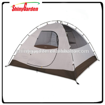 Rectangular dome style tent with pole clips for quick assembly