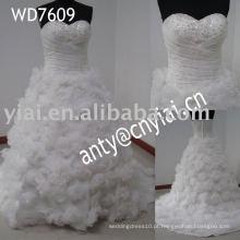 WD7609 flores de tecido de saia inchado para vestidos de noiva