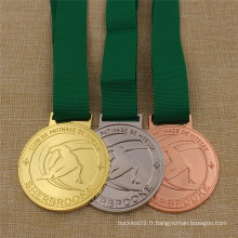 Médaille de ski de sport en métal personnalisée pour prix Or Argent Bronze