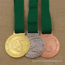 Medalha feita sob encomenda do esqui do esporte do metal para o bronze da prata do ouro da concessão