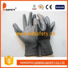 Schwarzes Nylon mit grauem Nitril-Handschuh-Dnn410