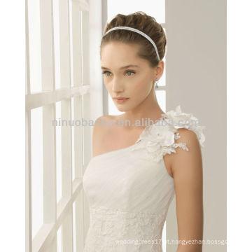 Vestido de casamento de sereia com apliques de um ombro e flor com flores de joias 2014 Vestido de noiva com vestido de cordão de cordão com comprimento longo NB008