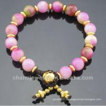 Ручная роспись окрашенные розовые Jade 8MM круглый браслет из бисера Vners SB-0266