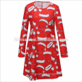 Hot Sale European Style Mother Daughter Clothes For Party Wear Child Bright Red Christmas Dress For Women